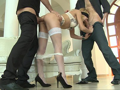 Blindfolded Romanian gets her ass fucked by two