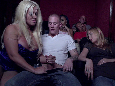 Alura Jenson strokes and sucks Richie's penis in the cinema