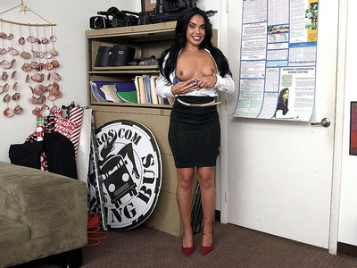 Selena Santana giving interview and undressing