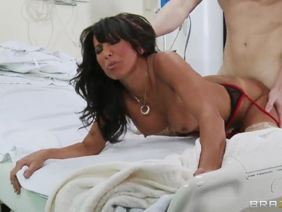Busty nurse Lezley Zen meets young boyfriend Michael Vegas in the hospital