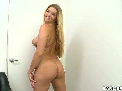 Sexy blonde girl Katie Blanks with nice body on the porn casting