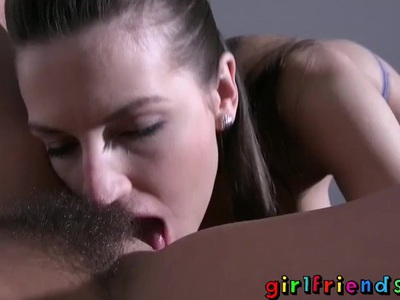Girlfriends hide in basement then eat hairy wet pussy