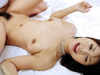 Azumi in black lingerie takes on two horny cocks and gobbles them both