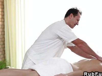 Busty blonde banged from her masseur