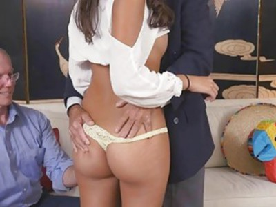 Latina Victoria with Frankie and the gang sucks and bangs