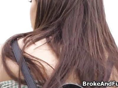Broke teen gives ass for cash