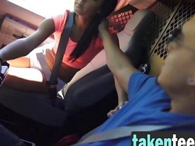 Sabrina Banks bondaged and dominated very hard by a van driver