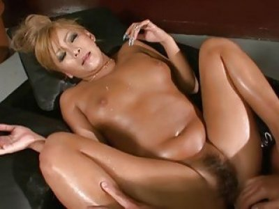 Taut hairy oriental acquires licked