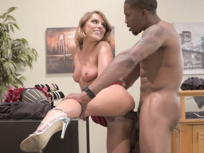 Natural breasted Adriana Chechik gets pounded by black guy