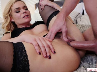 Big ass MILF in stockings takes it from behind hard