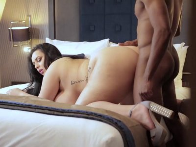 Busty fat chick takes on a big black cock interracial