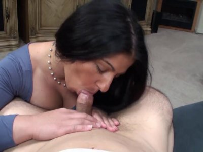 Mommy with big tits gives head and gets doggy styled