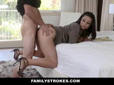 Sexy brunette stepmom loves her stepson's young dick and stamina