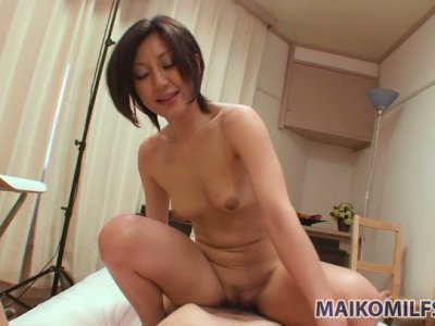 Japanese milf Mayumi Iihara is known as ardent cock sucker and rider