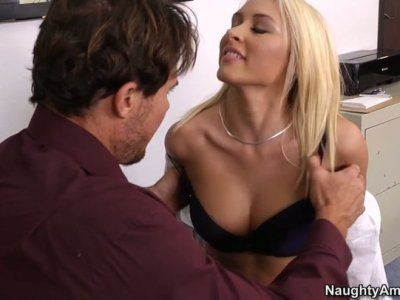 Nasty office manager Katie Summers enterntain her boss' guests while he is busy