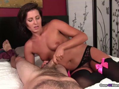 INCESSANT Cock tease handjob from This Older MILF