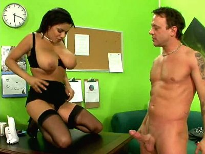 Fabulous babe Alexis Silver with amazing boobs gets on the table and blows cock