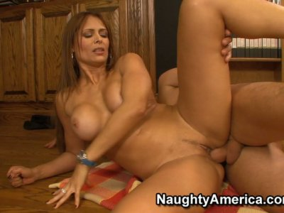 Monique Fuentes gets fucked in wooden kitchen