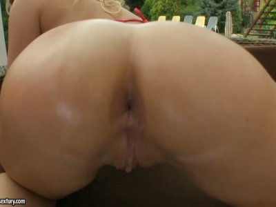 Busty girl Karlie Simon playing with her boobs and pussy