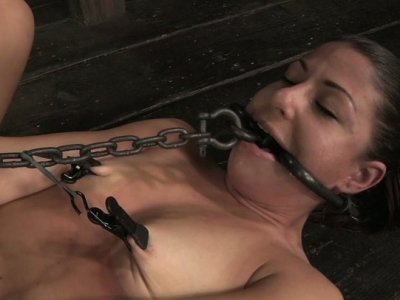 Tied up voracious bitch Mia Gold is a true fan of BDSM