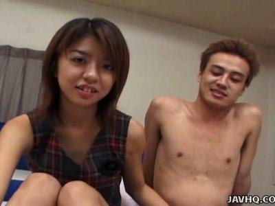 Playful Yuu Chigasaki films in a funny sex video made by Jav HQ studio