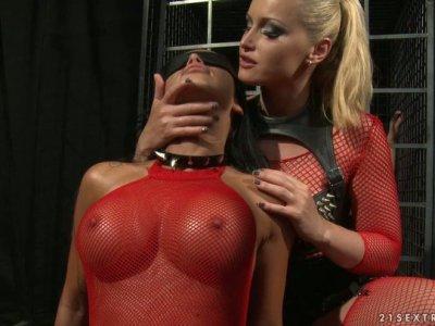 Roped Christina Bella gets doggyfingerfucked by cruel mistress
