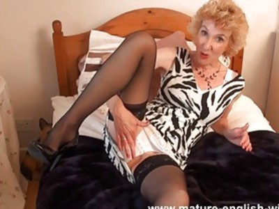 Mature British woman talking and playing with herself