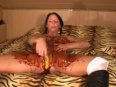 Big Tits, Choco and Banana Masturbation