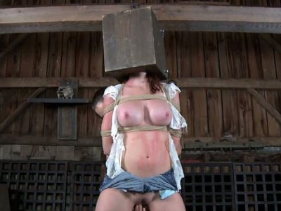 Snaky pale skin chick gets her head locked in the wooden box