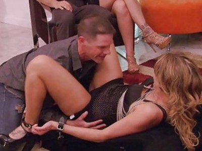 Swinging couples orgy in the red room