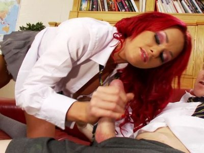 Ashley Sage fucks her professors dick while he keeps his pants on!