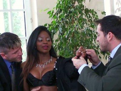 Ebony slut Jasmine performs her high quality skills in a hardcore double penetration action