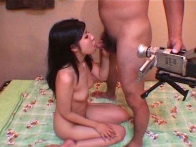 Salty Japanese cutie Kaiyo gives a head to hard dick