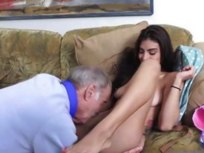 Michelle Martinez fucks an old man's cock