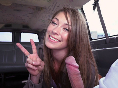 Kirsten Lee sucking stranger's dick in the Bang Bus