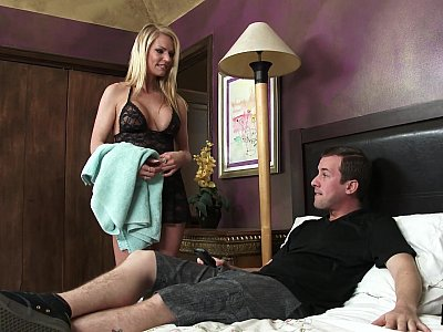 Busty Crystal Nicole lures stepson into shower sex