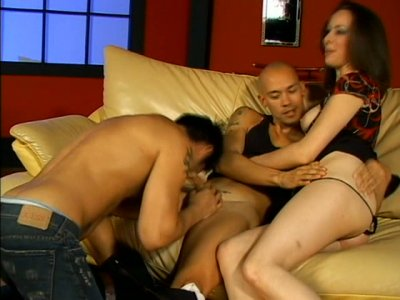Ann Parker is horny for a freaky sex with two bisexual dudes