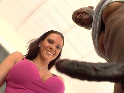 Horny chick with droopy ass Jennifer Dark rides a stiff black cock