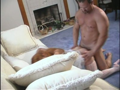 Voluptuous ginger housemaid sucks and fucks doggystyle